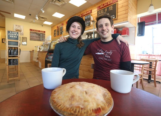 From left, siblings Bri Tyler and Wil Tyler of Pie Lady & Son pose for a photo in their new space in Nyack on Jan. 31, 2019.