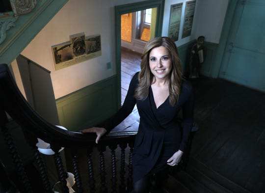 "Journalist Mary Calvi has written a new book, called ""Dear George, Dear Mary: A Novel of George Washington's First Love"". Here she is pictured at Philipse Manor Hall in Yonkers, Jan. 31, 2019."