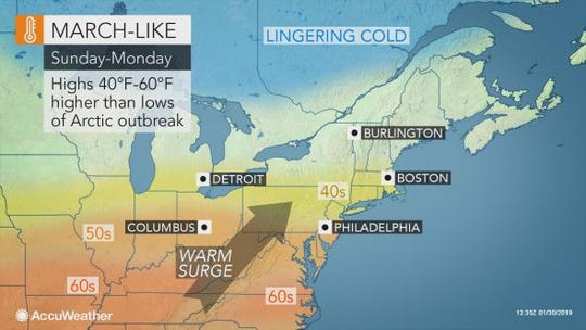 After historically cold weather on Thursday, temperatures will steadily rise through next week.