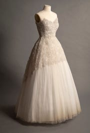 This Michele Clapton dress replicates one worn by Queen Elizabeth for an official portrait taken before her coronation.