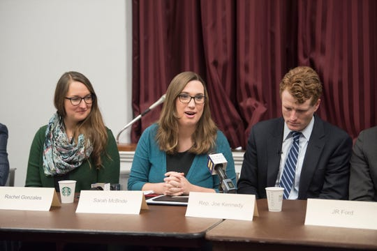 Sarah McBride speaks during a roundtable with Human Right Campaign's Parents for Transgender Equality National Council at the Cannon House Office Building on Wednesday, Jan. 30, 2019 in Washington, D.C.