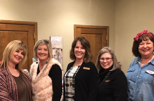 Senior-Junior Forum members at the 15th Annual Kemp Karnevale both volunteered and served on the Karnevale committee. From left to right: Tamara Barfield, Shelly Hutchins, Vicki McCarty, Valry  Tryer and SJF President Debbie Berend.