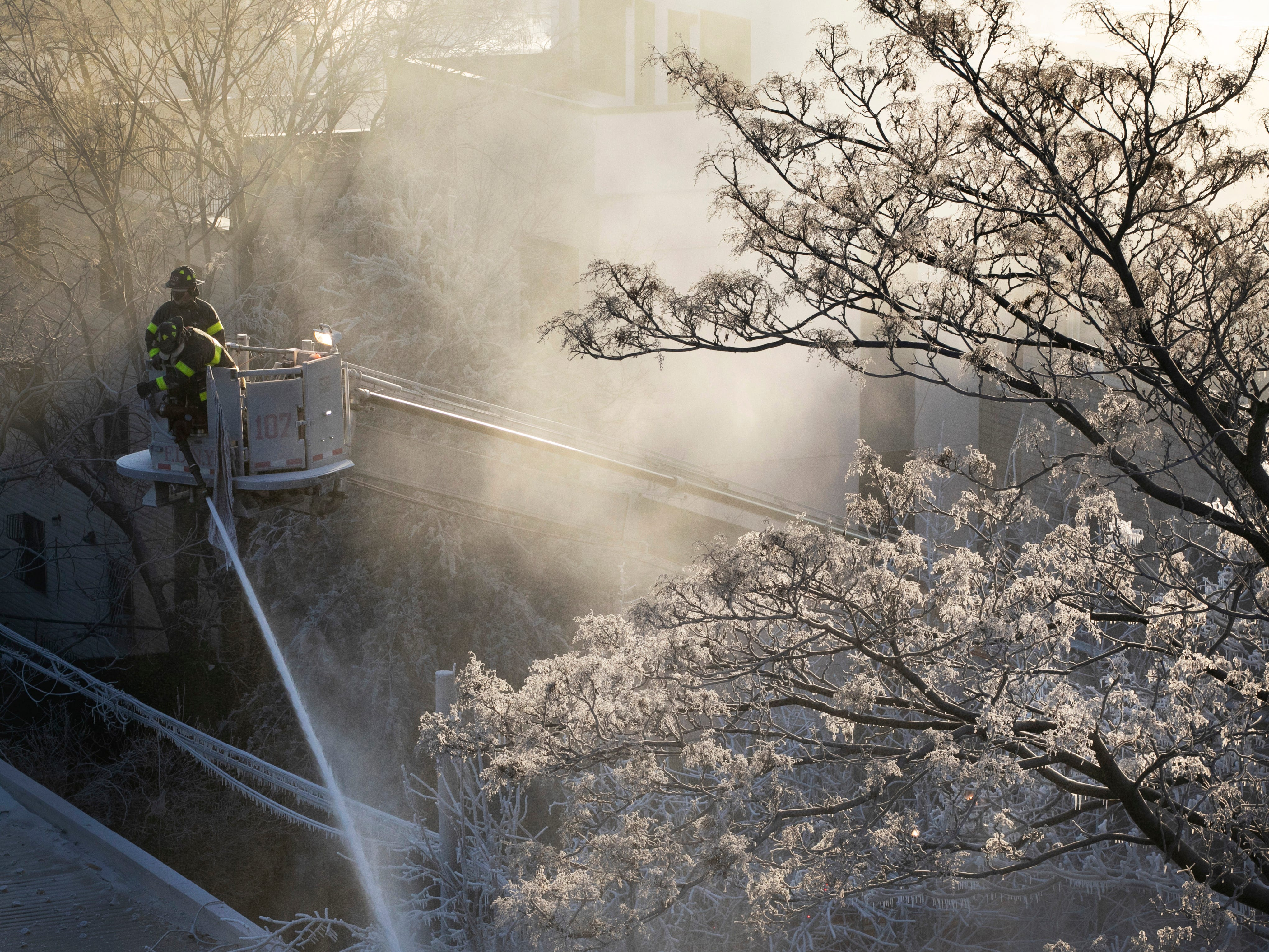 Ice forms on tree branches as New York firefighters battle a blaze in a commercial building in the Bedford Stuyvesant neighborhood of Brooklyn, Jan. 31, 2019 in New York.