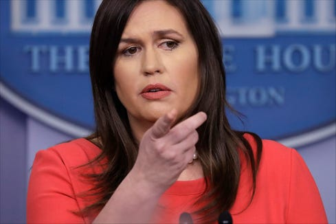 White House Press Secretary Sarah Sanders speaks during a press briefing at the White House.