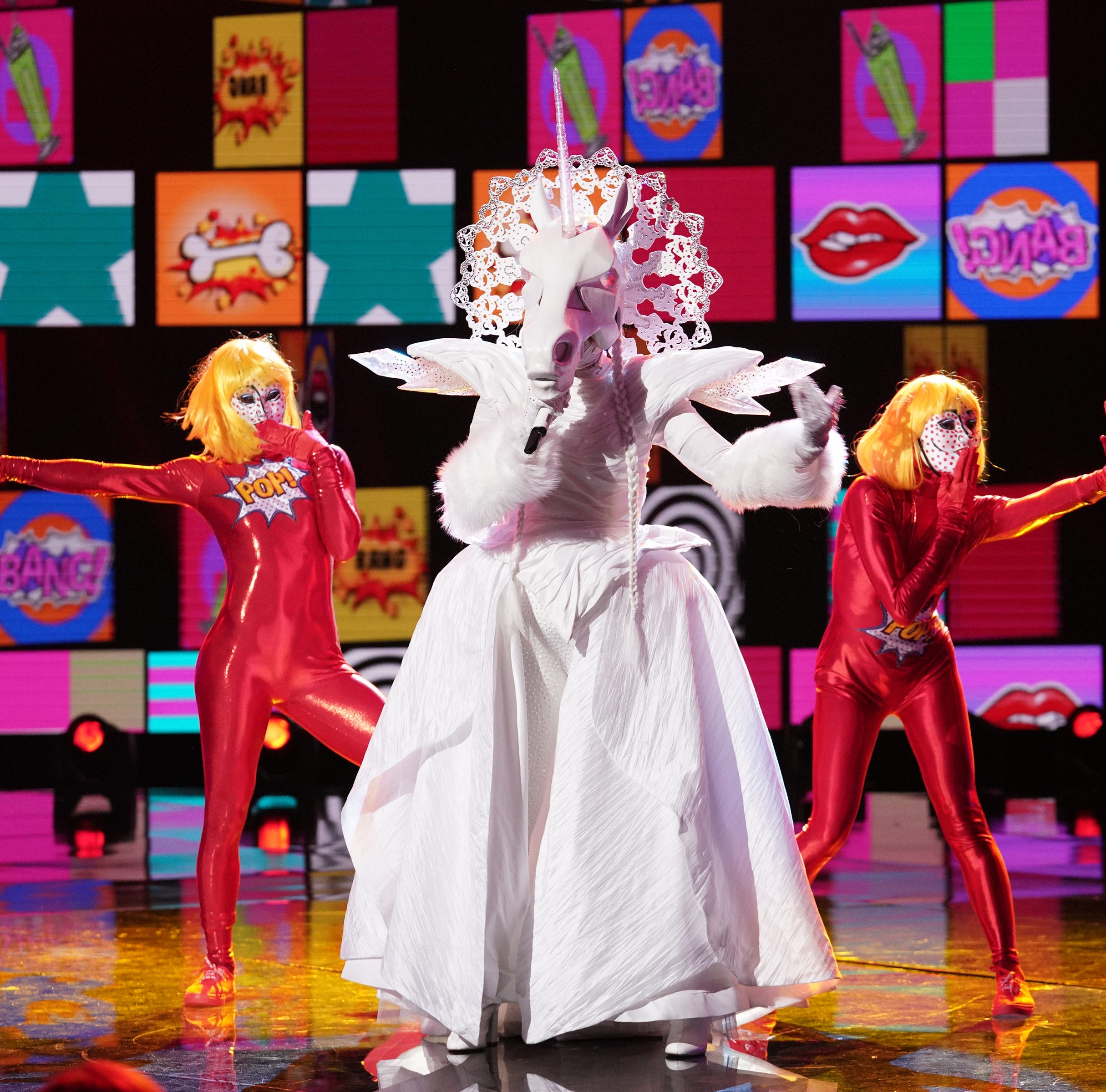 """THE MASKED SINGER: Unicorn in the """"Mix and Masks"""" episode of THE MASKED SINGER airing Wednesday, Jan. 30 (9:00-10:00 PM ET/PT) on FOX. © 2019 FOX Broadcasting. CR: Michael Becker / FOX."""