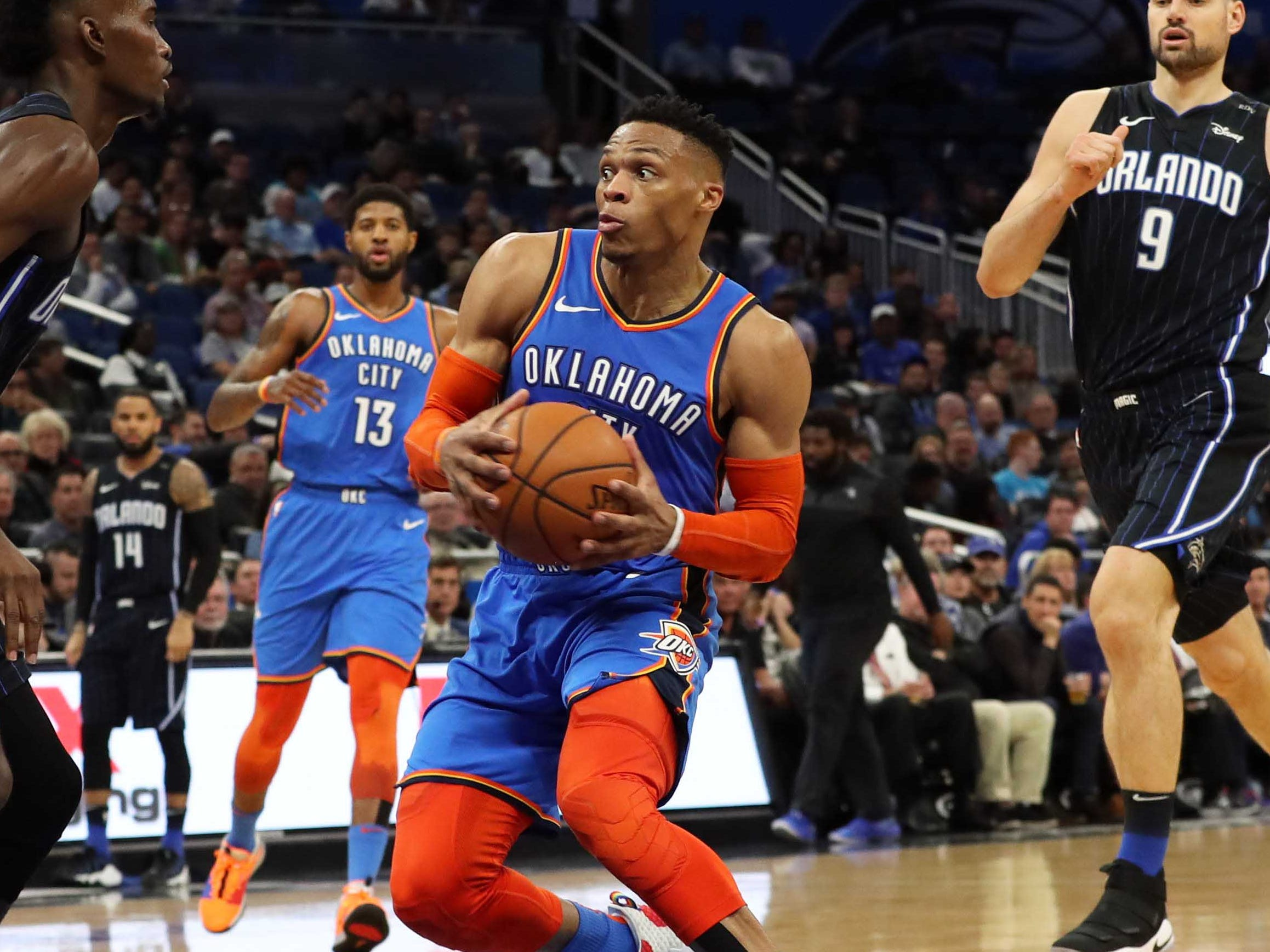 67. Russell Westbrook, Thunder (Jan. 29): 23 points, 14 rebounds, 14 assists in 126-117 win over Magic. (17th of season).