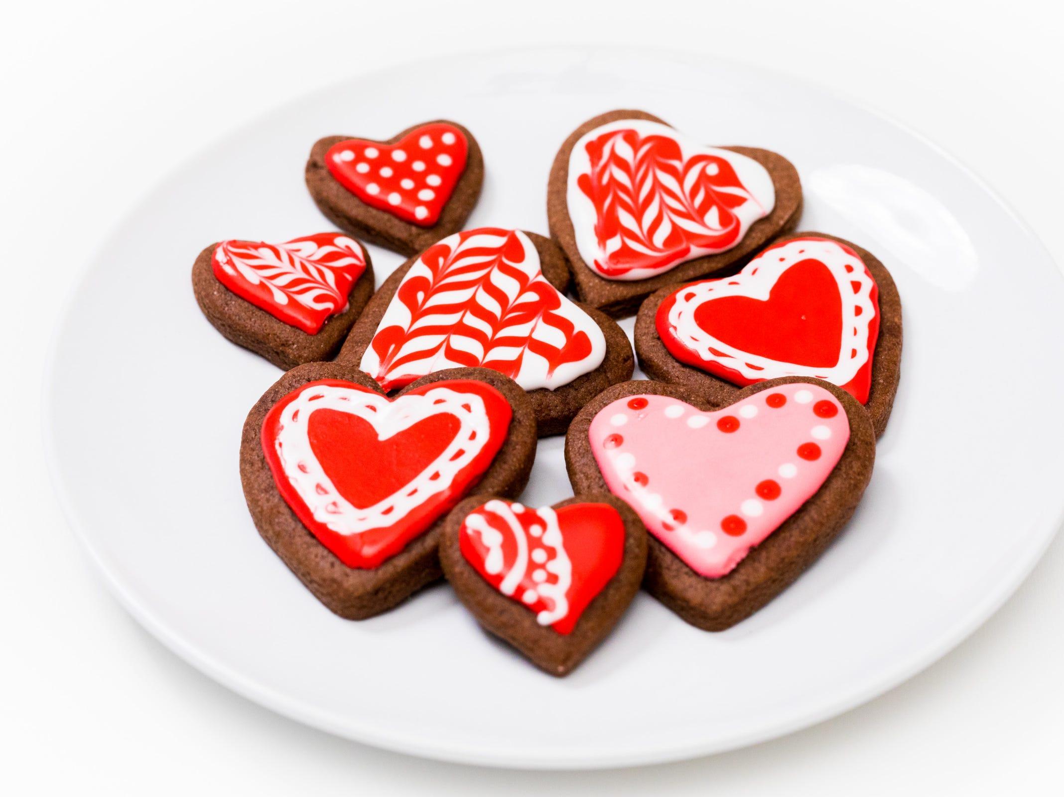 Heart-shaped brownie cutout cookies