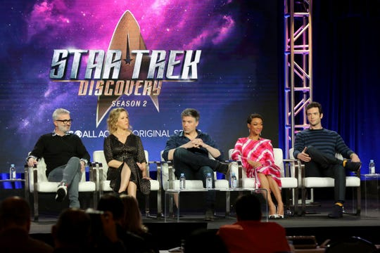 Executive producers Alex Kurtzman, left, and Heather Kadin, and actors Anson Mount, Sonequa Martin-Green and Ethan Peck participate in the 'Star Trek: Discovery' show panel during the CBS All Access presentation at the Television Critics Association Wednesday in Pasadena.