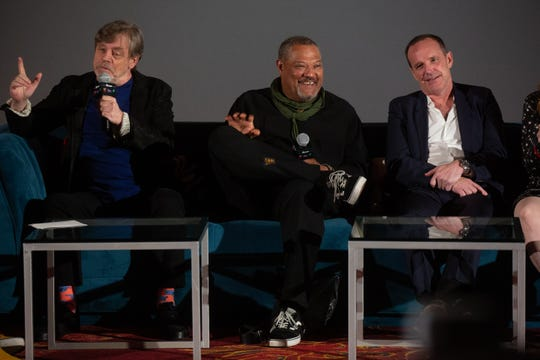 Mark Hamill, Laurence Fishburne and Clark Gregg speak during a panel discussion  at Wednesday's Stan Lee memorial.