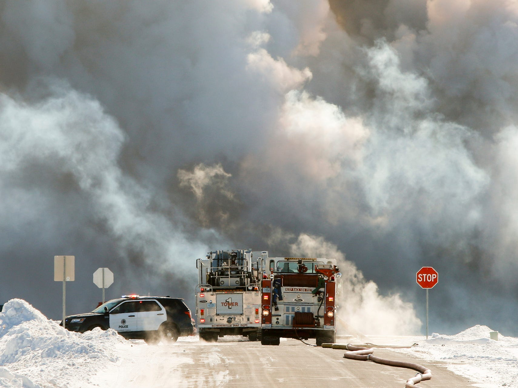 Emergency personnel from several Lake and and Porter County departments responded Jan. 30, 2019 to a warehouse fire in an industrial park in Merrillville, Ind.