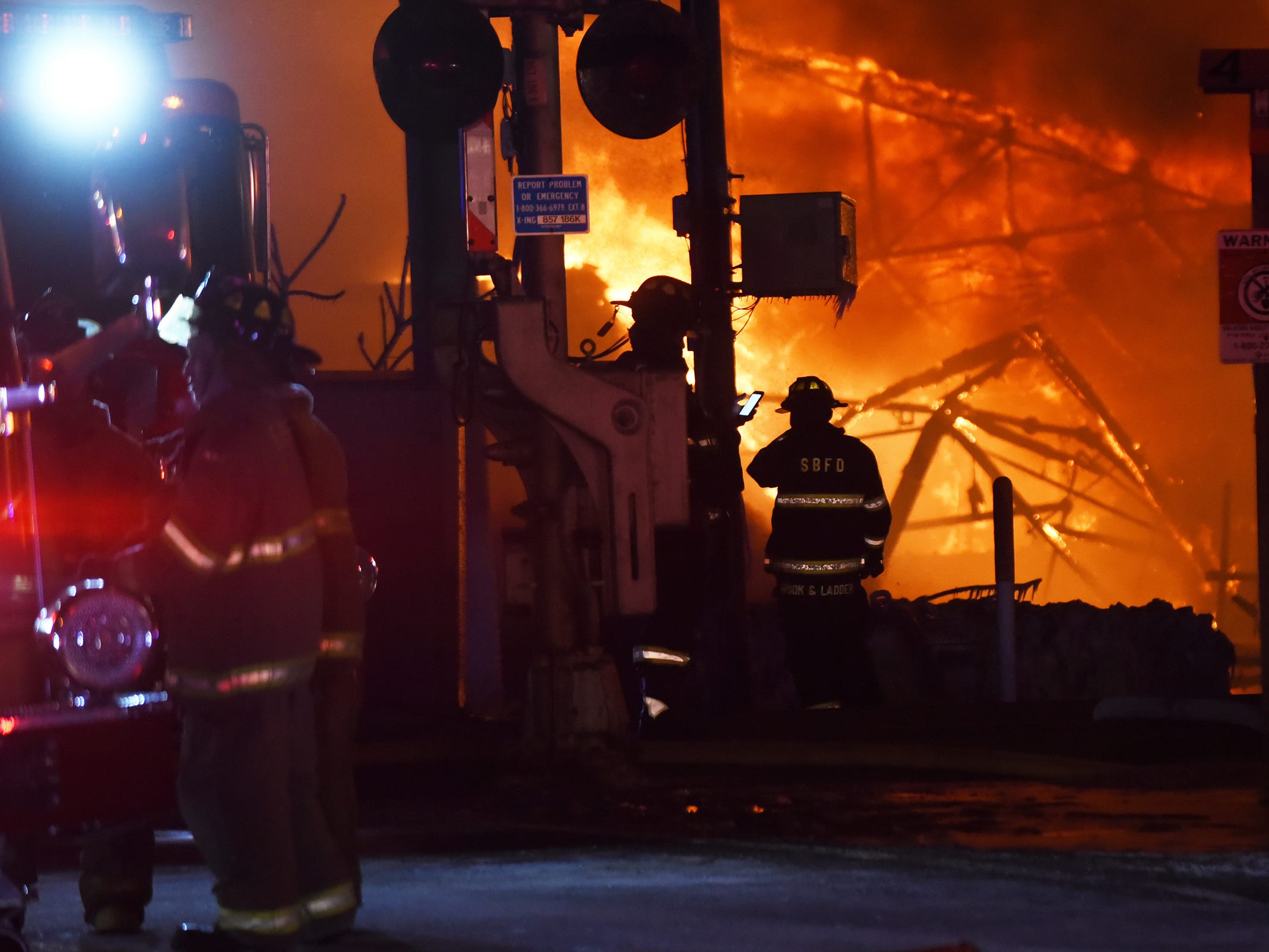 Firefighters battle a four alarm fire at the Marcal factory in Elmwood Park, NJ., Jan 30, 2019;