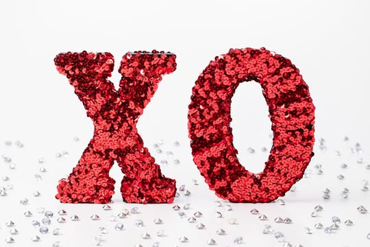 sequined Valentine's Day letters