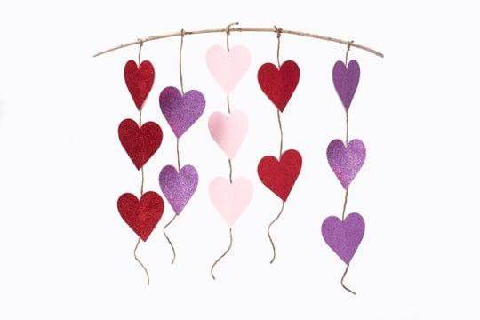 glitter heart twine garland