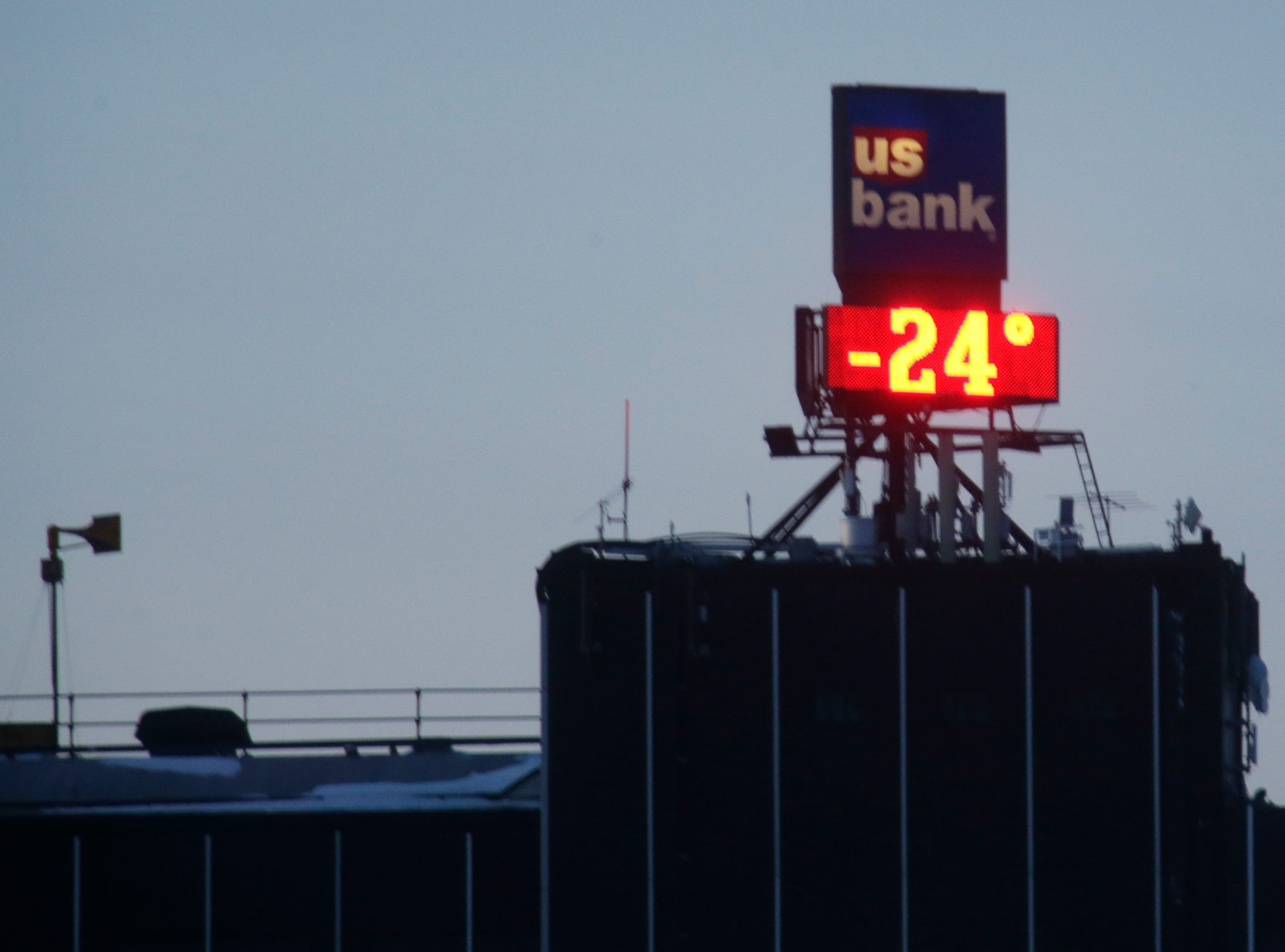 At 6:30 am, the U.S. Bank clock indicated -24 degrees F, Wednesday, January 30, 2019, in Sheboygan, Wis.