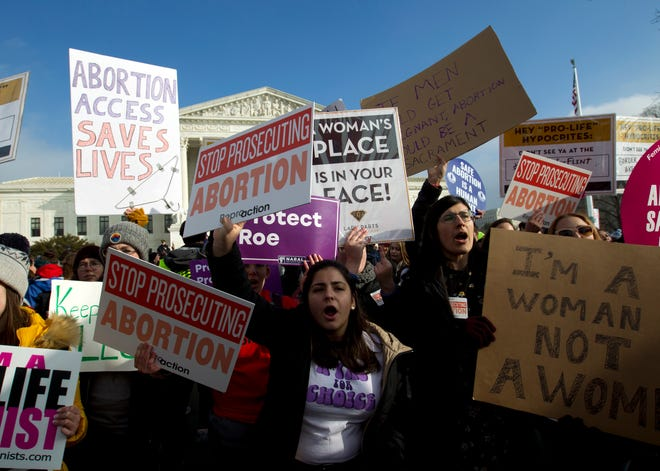 Abortion rights activists protest outside  the Supreme Court during the March for Life in Washington last month.