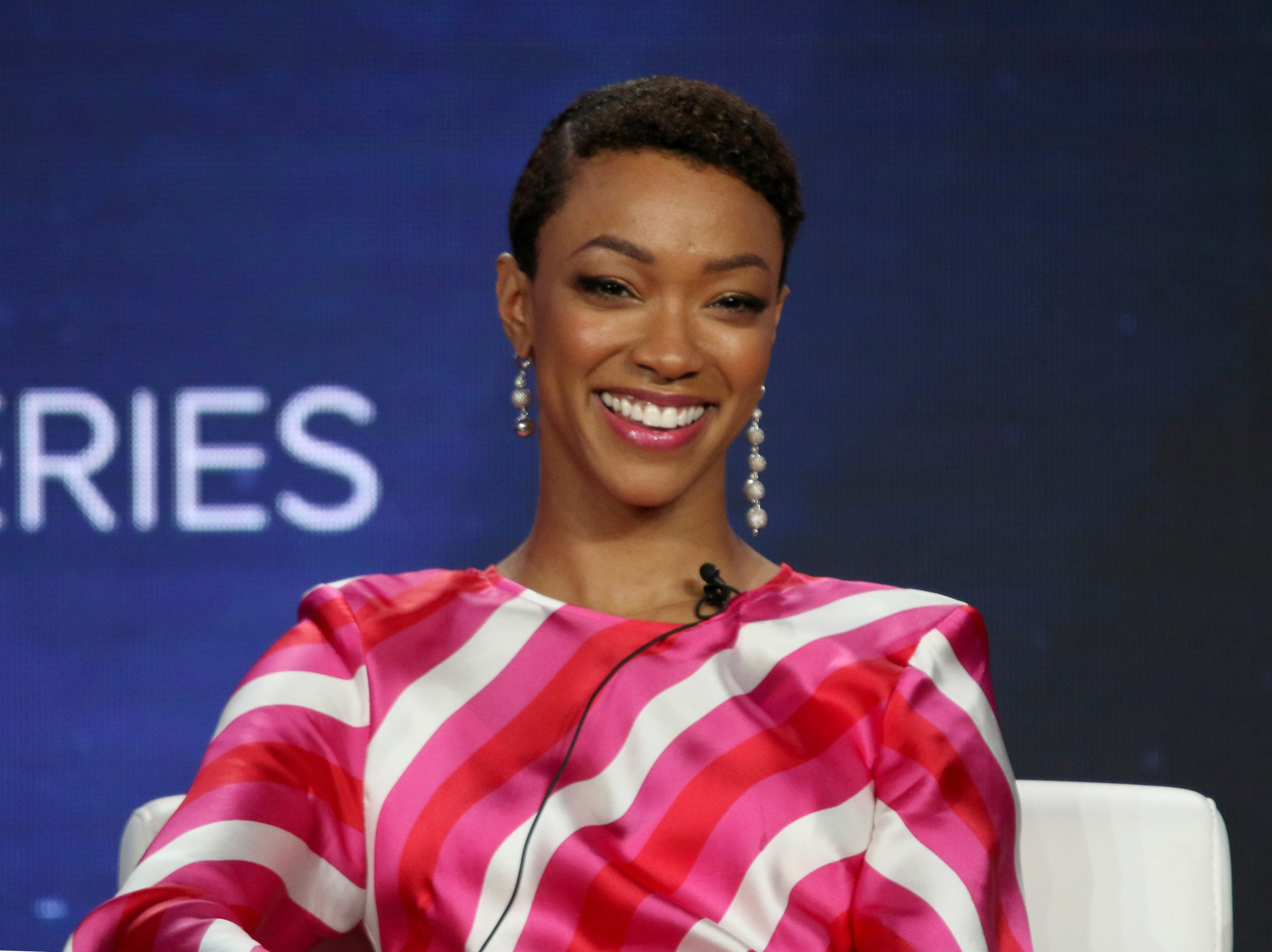 """Sonequa Martin-Green looks on during a panel about """"Star Trek: Discovery"""" on CBS All Access."""