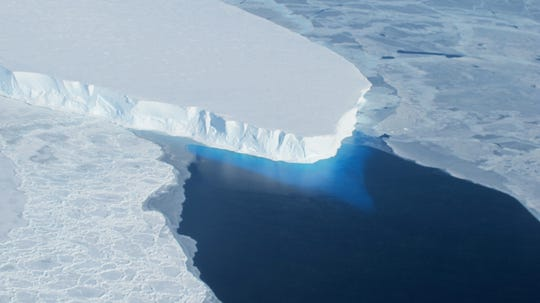 This undated photo courtesy of NASA shows Thwaites Glacier in Western Antarctica.