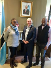 Mimmy Polan the Botswana Embassy's registry officer,  David Newman, Botswana's ambassador to the United States and Masego Nkgomotsang the Botswana Embassy's first secretary for economic affairs.