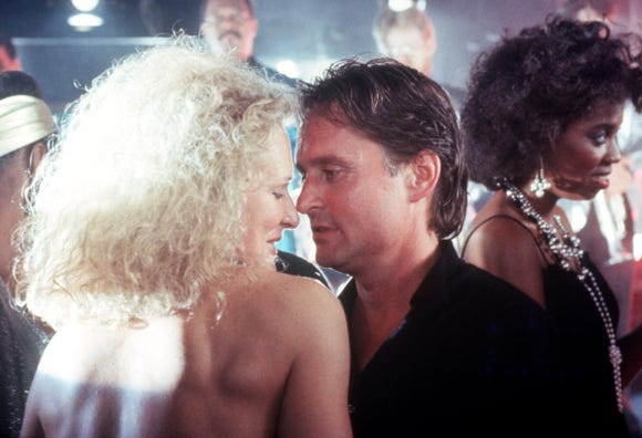 "Glenn Close and Michael Douglas get friendly in ""Fatal Attraction."""