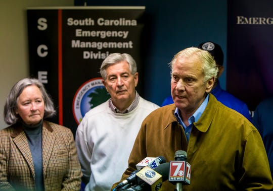 South Carolina Governor Henry McMaster, right, speaks at a press conference following a crash between an Amtrak train and CSX freight train, in Cayce, SC, near Charleston Highway and Pine Ridge Road around 2:35 a.m. Sunday, Feb. 4, 2018. At least two people were killed and at least 70 people were injured.  (AP Photo/Jeff Blake)