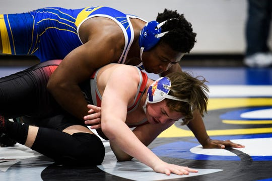 Travelers Rest's Zeebo Riley attempts to take down Blue Ridge's Bryson Head during the Region 2-AAAA wrestling championship at Eastside High School on Thursday, Jan. 31, 2019.