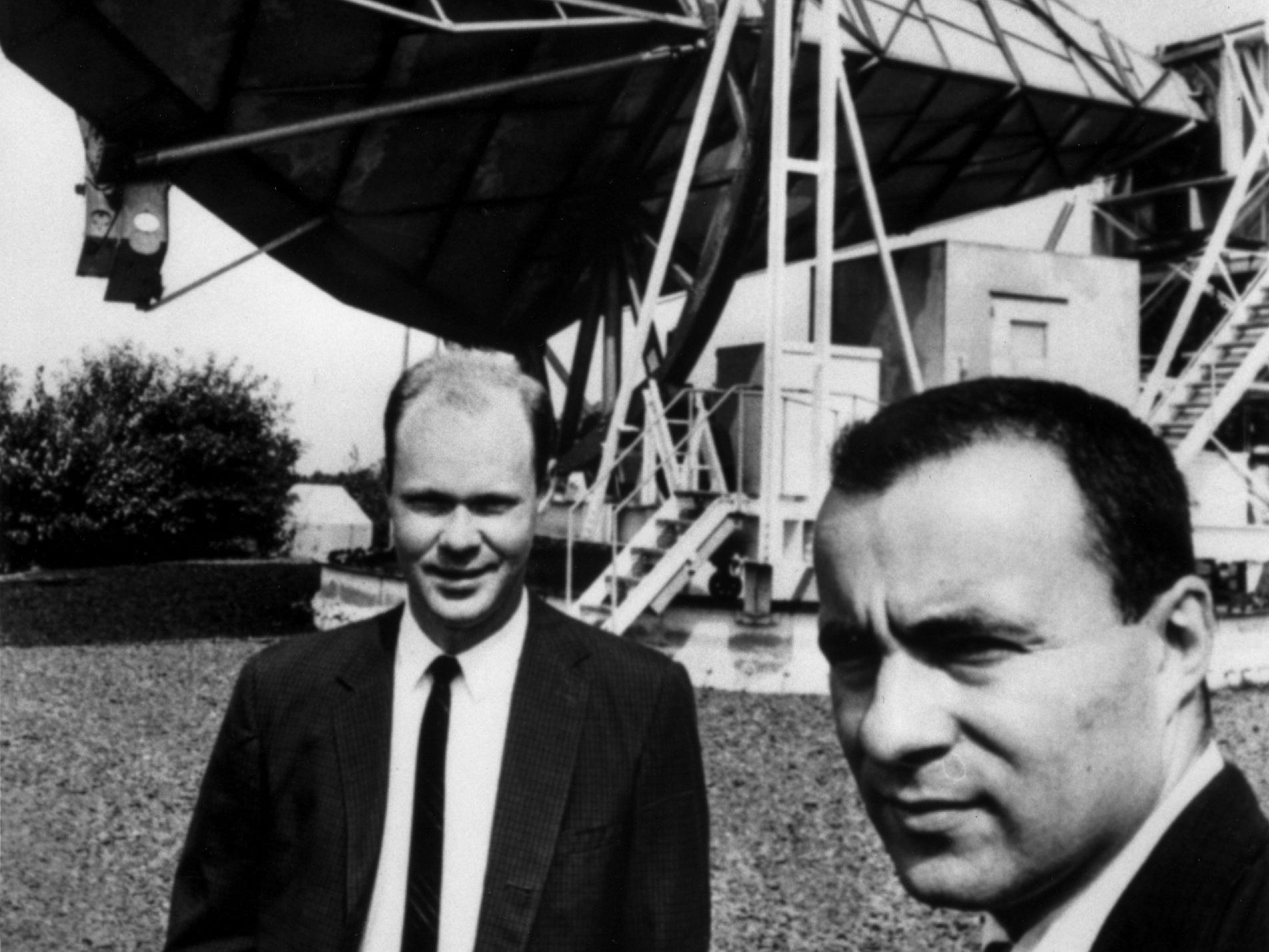 "In this undated handout photo released by Alcatel Lucent, Bell Labs' Robert Wilson, left, and Arno Penzias, 1978 Nobel Prize winners for their discovery of the ""Big Bang"" theory of the universe's creation, are photographed in front of the famous Horn Antenna in Holmdel, NJ From the ubiquitous technology made possible by Bell Labs' invention of the transistor and laser to its scientists helping prove how the universe began, the lab has greatly influenced technology and culture. (AP Photo/Alcatel Lucent)"