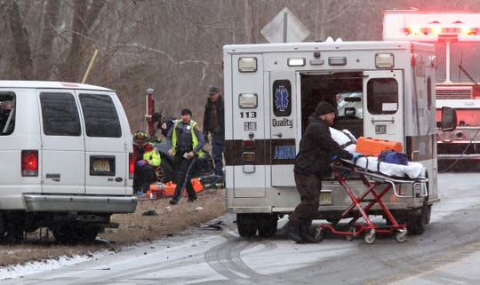 Emergency personnel arrive at the scene of a two car collision on South Hope Chapel Road in the township Friday afternoon, February 1, 2019.