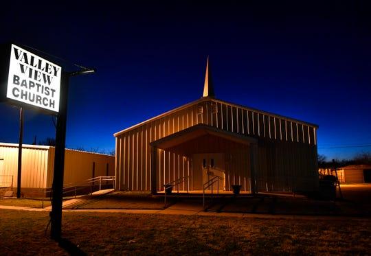 Valley View Baptist Church at night Jan. 31, 2019.