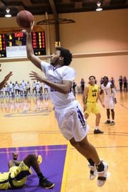 HSU's Neal Chambliss (22) puts up a shot during the first half against Concordia at the Mabee Complex on Thursday, Jan. 31, 2019.