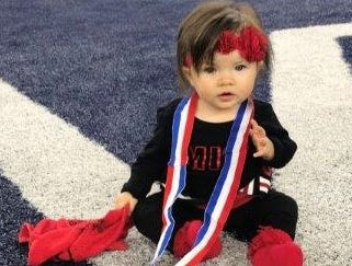 Ensley Cervantes celebrates the Strawn Greyhounds' state championship win. She is the daughter of Coach Evany Cervantes and Brooke (Dezern) Cervantes and the granddaughter of Billy and Robin Dezern, of Clyde, and Octavio and Eva Cervantes, of Gustine.