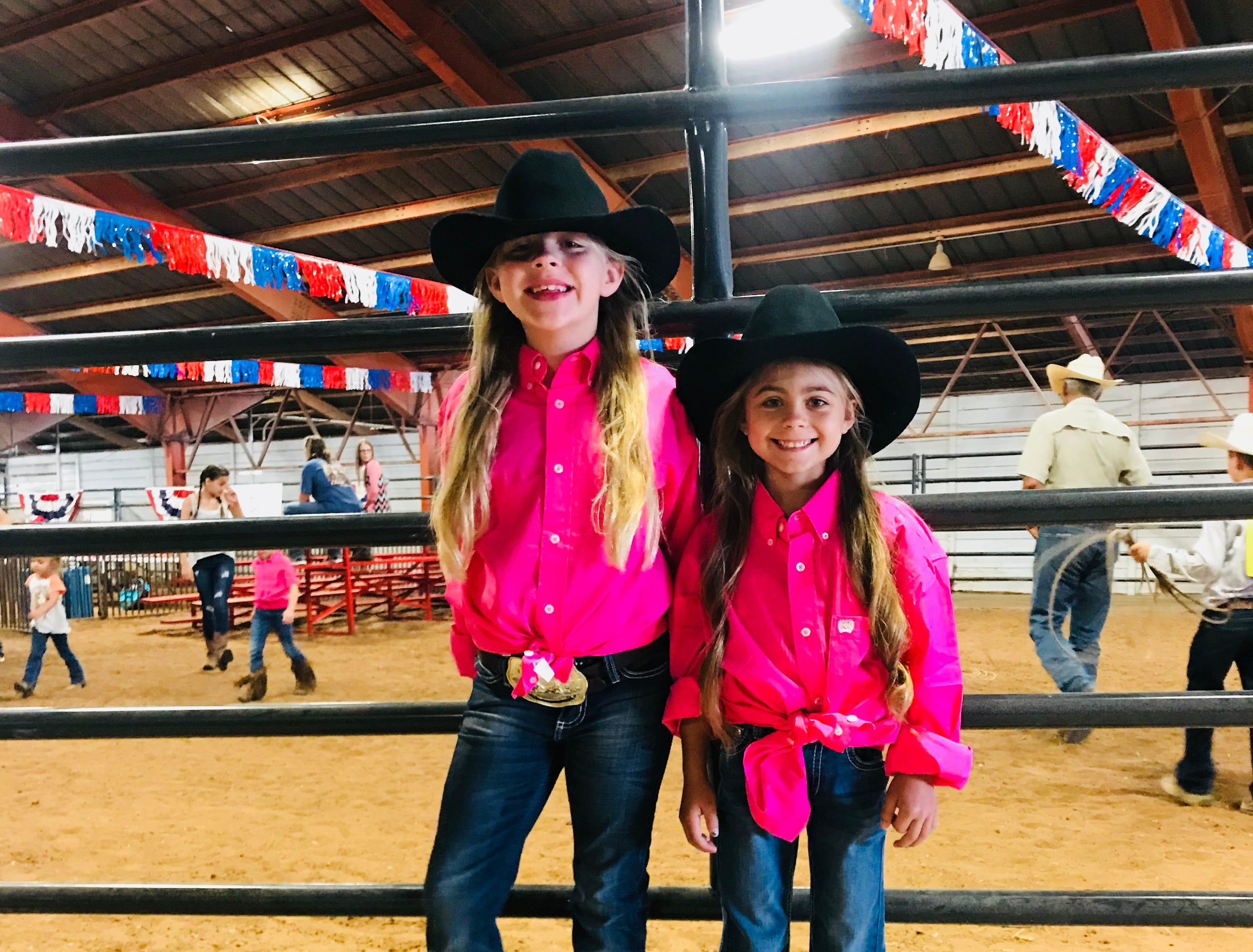 Charley June and Haven, Six White Horse Girls, attend the Haney Canon Stick Horse Rodeo at the 34th annual Western Heritage Classic.
