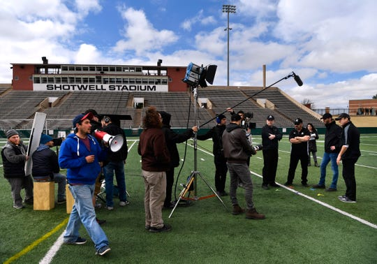 "The ""Brother's Keeper"" film crew readies  to shoot a scene at Shotwell Stadium on Friday Feb. 1, 2019. The movie dramatizes the Abilene High School Eagles 2009 championship season. The production has asked Abilenians to fill  Shotwell on Saturday, when they film wider shots of the crowd, as well as football action. According to Chad Mitchell, some of the stunt men may be the same ones who have worked on the Marvel superhero movies. Anyone wishing to be an extra should wear either Abilene High black and gold, or Cedar Hill red and black. Times for shooting will be 7 a.m. - 1 p.m., and then 2-6 p.m. at the stadium. Sunday will have the same schedule, with an additional session from 7 - 10 p.m."