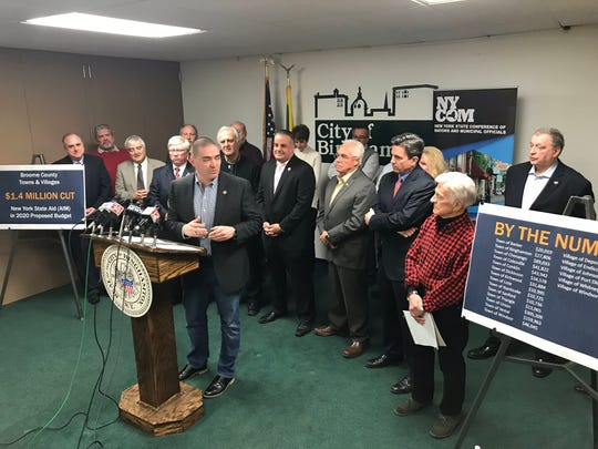 State Sen. Fred Akshar, R-Endwell, speaks Jan. 18 with other municipal leaders in opposition to cuts in Aid and Incentives for Municipalities in Gov. Andrew Cuomo's proposed state budget.