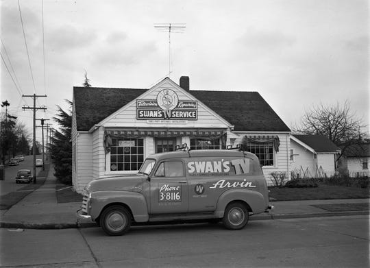 Swan's GMC service panel truck was a frequent sight in 1950s Bremerton. The iconic test pattern, used as the center piece of Swan's business sign, became familiar to the baby-boom television audiences in America from 1947 onwards and would often follow the formal television station sign-off after the national anthem. T o see more photos from the Kitsap County Historical Society Museum archives, visit facebook.com/kitsaphistory, kitsapmuseum.org, or stop by the museum at 280 Fourth Street in Bremerton. Call 360-479-6226 for information.