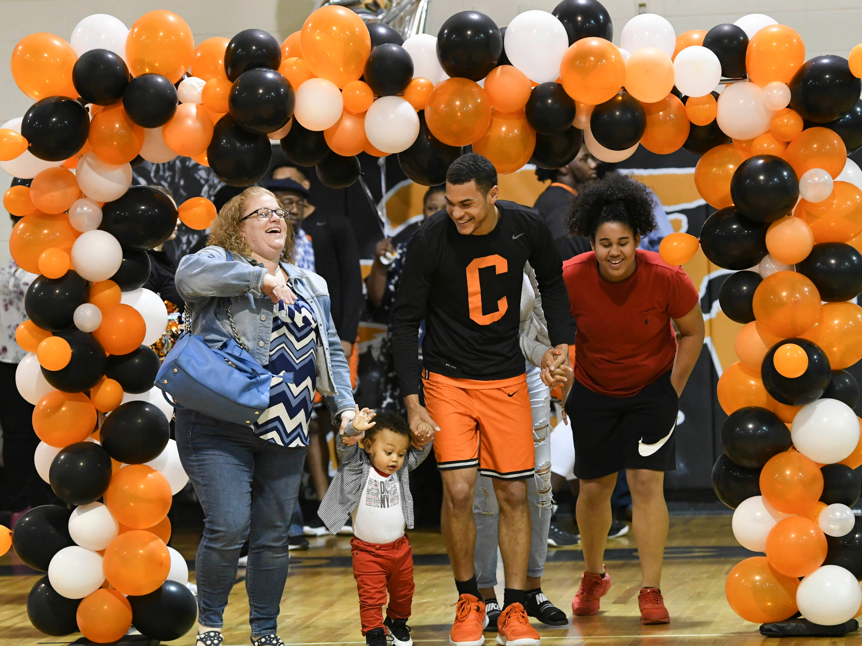 Seniors on the basketball got their recognition from the crowd before the game against Melbourne Thursday.