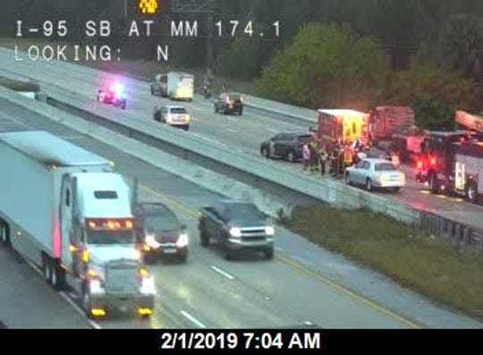 A crash on I-95 near Palm Bay was blocking lanes Friday morning.