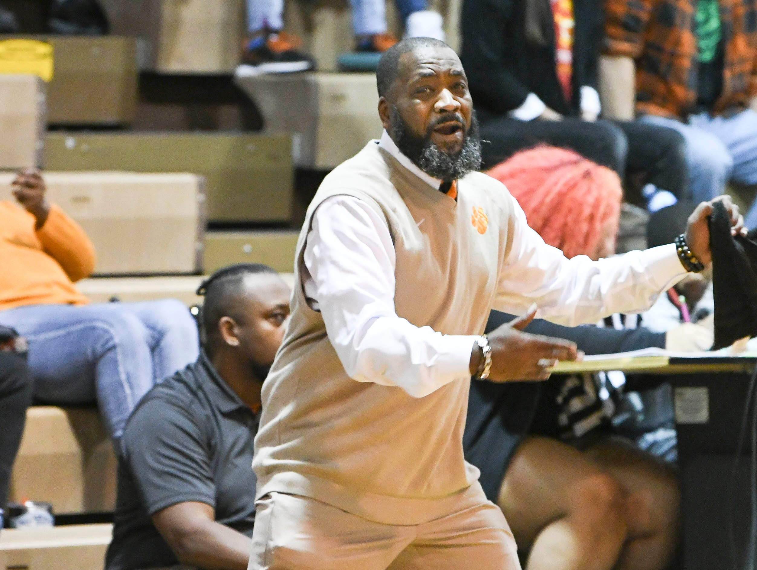 Cocoa boys basketball head coach Edwin Jones urges his players to go faster Thursday at Cocoa High School.