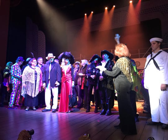 """Costumed supporters of Cocoa Village Playhouse take a bow on the theater stage before a recent performance of """"Anything Goes."""""""