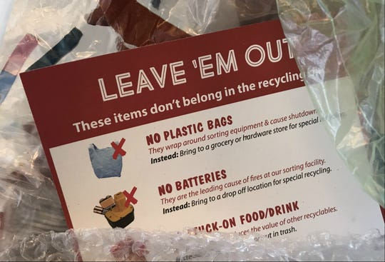Instructional materials from Chittenden Solid Waste District urge consumers to recycle certain products — including plastic bags —  only at special drop-off locations