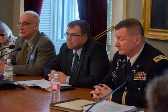 Lt. Col (ret) David Graham, Brig. Gen. (ret) Dave Baczewski, and Col. Greg Knight faced questions from the legislative women's caucus on Feb. 1, 2019. All three are hoping to become Vermont's senior military officer.