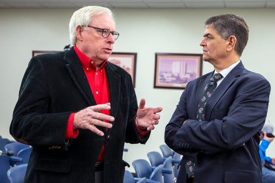 Wes Hoskins (left) talks with U.S. Congressman Filemon Vela before a joint press conference announcing Vela's appointment to the Armed Service Committee on Friday, February 1, 2019 at the Nueces County Courthouse.