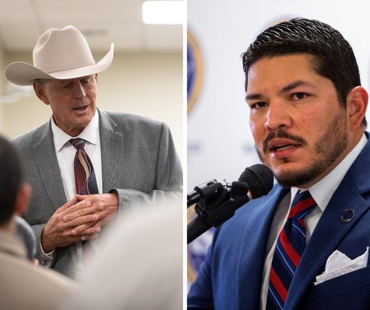 Nueces County Sheriff John Chris Hooper (left) and District Attorney Mark Gonzalez