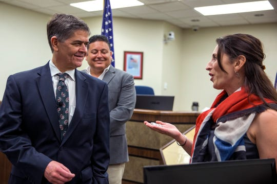 U.S. Congressman Filemon Vela (from left) receives a coin from Nueces County Judge Barbara Canales as Kleberg County Judge Rudy Madrid (back) watches during a joint press conference announcing Vela's appointment to the Armed Service Committee on Friday, February 1, 2019 at the Nueces County Courthouse. It was also an opportunity to discus what that appointment means to the military installations in the Coastal Bend.