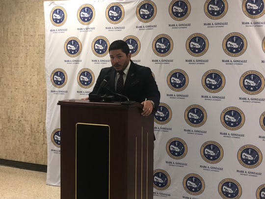 Nueces County District Attorney Mark Gonzalez speaks at a Feb. 1, 2019 news conference. He said local attorney John R. Perry is accused of compelling sex acts from clients.