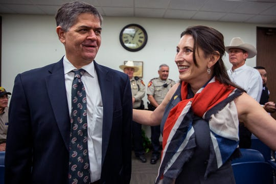 U.S. Congressman Filemon Vela (left) talks with Nueces County Judge Barbara Canales before a joint press conference announcing Vela's appointment to the Armed Service Committee on Friday, February 1, 2019 at the Nueces County Courthouse.