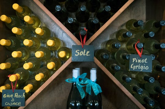 Bottles of wine on display at Auburn Road Vineyard & Winery in Pilesgrove. The wine is available by the bottle at Val's Seafood Trattoria.