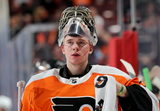 Carter Hart was named the NHL's rookie of the month Friday. He will face his hometown Edmonton Oilers Saturday afternoon.