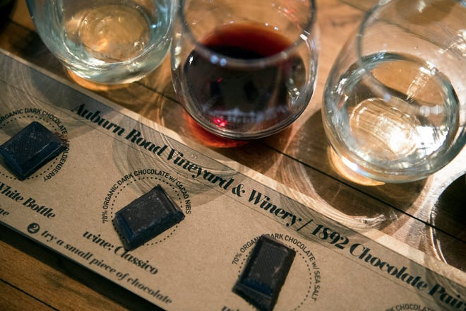 A wine and chocolate pairing at Auburn Road Vineyard & Winery Wednesday, Jan. 30, 2019 in Pilesgrove, N.J. The chocolate is from 1892 Chocolate in Collingswood.
