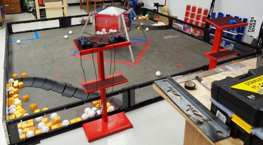 Loveland Robotics Nuts and Bolts team will compete in the FIRST Tech Challenge World Championship on a field identical to this in Detroit, Michigan in April.