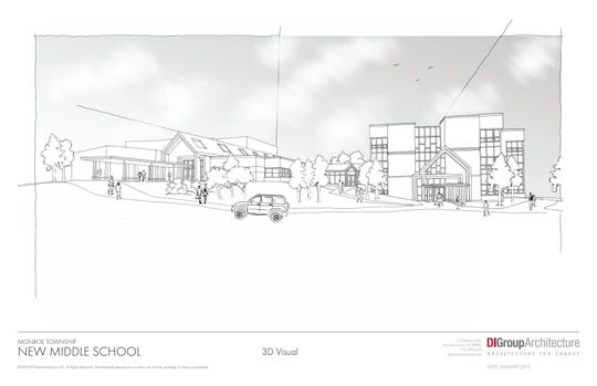 A rendering of the proposed new Monroe Middle School by Design Ideas